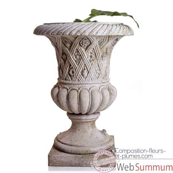 Video Vases-Modele Spring Urn, surface pierres romaine combines au fer-bs2131ros/iro