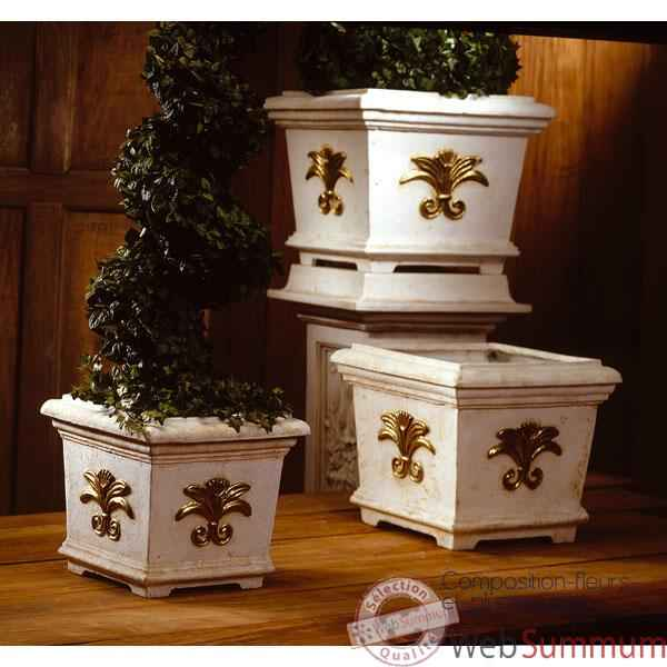 Vases-Modele Tuscany Planter Box -large, surface marbre vieilli patine or-bs2168wwg