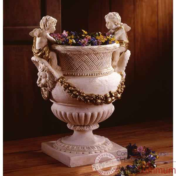 Video Vases-Modele Cherub Urn, surface marbre vieilli patine or-bs3060wwg
