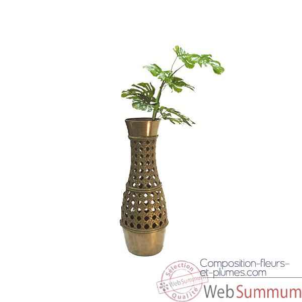 Video Vases-Modele Cebu Vase, surface bronze avec vert-de-gris-bs3260vb