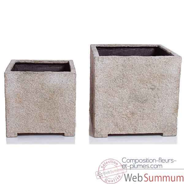 Video Vases-Modele Cube Planter Medium,  surface granite-bs3320gry