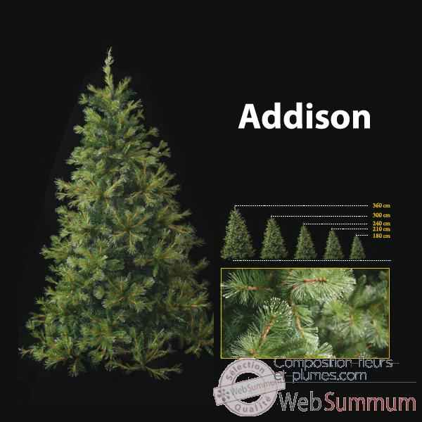 Sapin de Noël 240 cm Professionnel Addison Hard Needle Pine Tree 900 lumières Vert