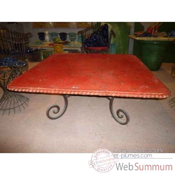 Plateau de table carre rouge 105 cm P-C-105-R