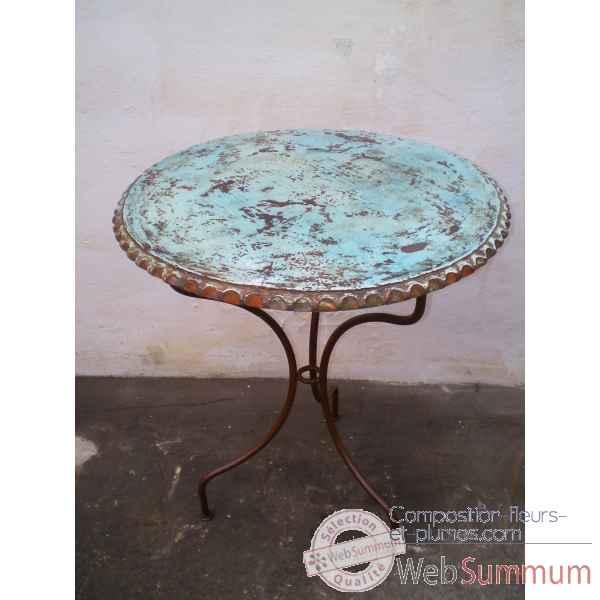 plateau de table rond turquoise 100 cm dans poterie sur composition fleurs et plumes. Black Bedroom Furniture Sets. Home Design Ideas